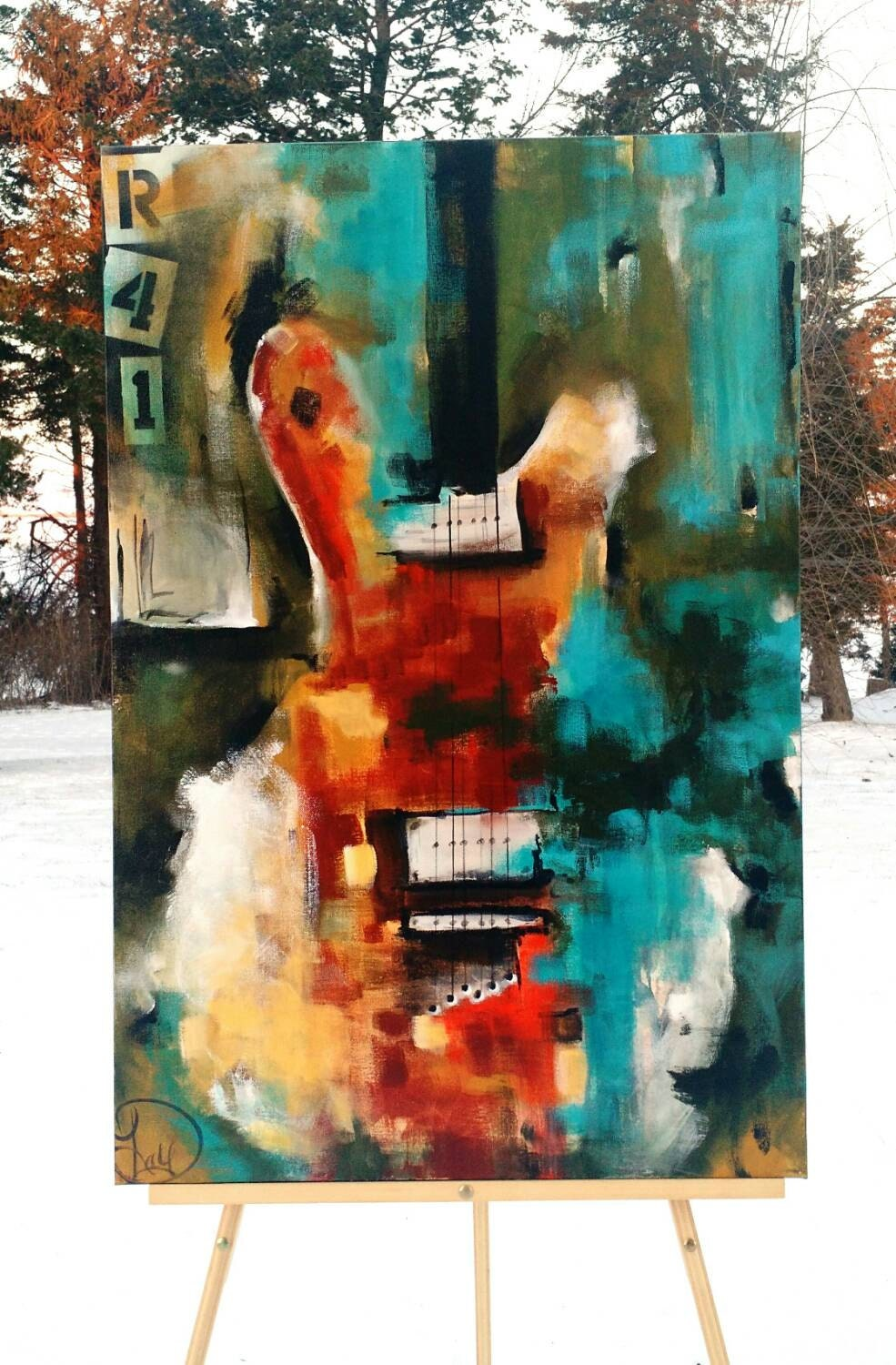 guitar painting original abstract painting by heatherdaypaintings. Black Bedroom Furniture Sets. Home Design Ideas