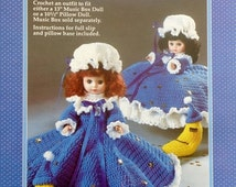 """20%OFF Fibre Fiber Craft TWINKLE LITTLE Star 13"""" Music Box Doll or 10 1/2"""" Pillow Doll - Crochet Doll Dress Clothes Clothing Pattern"""