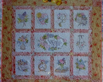 SALE Crab Apple Hill FONDEST REGARDS - Embroidered Crayon Tinted Beaded Quilt Pattern & Cosmo Seasons Variegated Embroidery Floss