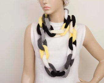 Multicolor knit chain ring hoop  necklace lariat scarf ,long lariat scarf