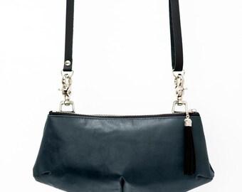 SALE Steel blue leather bag, blue multifunctionnal waist bag, travel pouch, leather clutch, mini purse , banana bag, waist bag, handmade