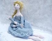 Spring Blue gold One of a kind art doll with lace, Soft Sculpture jointed handmade handsewn handpainted  cloth doll with handsewn dress