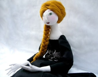 Black OOAK art doll Soft Sculpture jointed handmade handpainted romantic cloth doll elegant  handsewn dress, springdesign