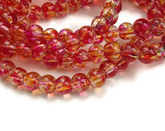 50 Mottled Beads, Pink Red Yellow Round Glass Beads, 6mm Round Glass Beads G 50 029