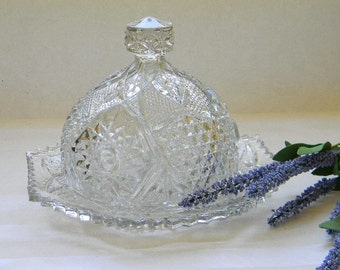 Vintage EAPG, Pressed Glass Dome Butter Dish