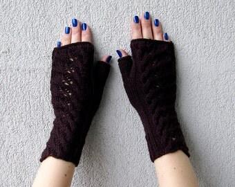 Knit Arm Warmers Fingerless Gloves Women's Hand Warmers Wool Fingerless Gloves Hand-Knitted Wrist Warmers Half finger gloves Brown