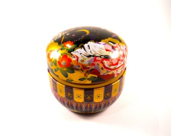 Chinese Tea Tin Colorful Asian Tea Container Lid