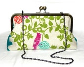 Bird perch in teal fabric Clutch - Echino Japanese Linen in green, teal and orange-red