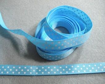 Sky Blue & White Polka Dot Grosgrain Ribbon ... 3/8  Inch Wide ... You Choose Length (2 Yds, 3 Yds, 4 Yds, 5 Yds)... Item No. L216