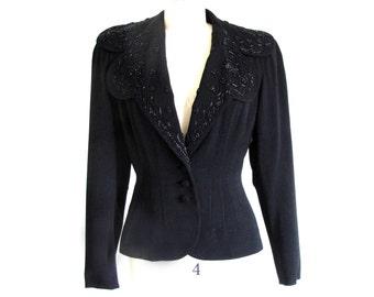 Vintage 40s Beaded Jacket, Black 1940 Tailored Jacket, 40s Fitted Jacket, Beaded Suit Jacket, Old Hollywood, 40s Top