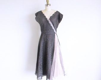 Vintage 50s Gray Lace Dress, Tea Length Cocktail Party Frock