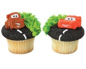 Cars Cupcake Topper Rings - Cars Movie - Lightning McQueen - Tow Mater - Birthday Party - Cupcake - Cupcake Topper - Disney Party