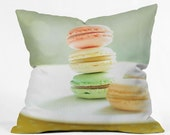 Throw Pillow: Sweet Macarons. Sweet Dessert. Pink Yellow Orange Mint. Decorative Throw Pillow. Living Room. Home Décor. Cushion Cover
