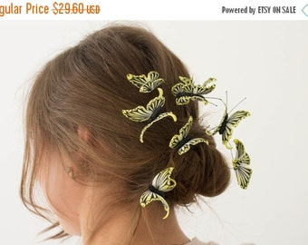 Christmas SALE Yellow Butterfly Hair Pins Set Wholesale Hairpin Accessory Decoration Butterfly Hair Piece Headpiece Bridal Wedding Birthday