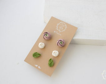 White Green Marsala Stud Earrings Wholesale Set Ranunculus Flower Hypoallergenic Polymer Clay Studs Women Wedding Bridal Birthday Gifts