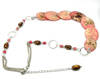 Salmon Pink Beaded Chunky Necklace