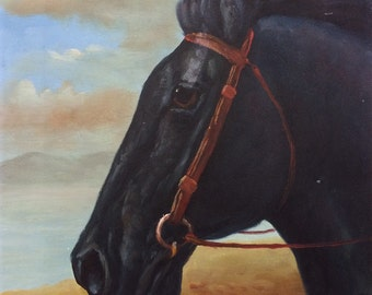 Vintage Original Painting of Black Horse Portrait with Blue Sky