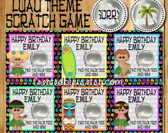 Hawaiian Luau Birthday game Happy Birthday Scratch Off Cards Laua Party game card Party Scratch off ticket lottery card Luau theme 12 Precut