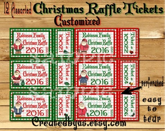 Christmas Party raffle tickets Holiday prize raffle tickets Christmas party games Family Party game Door prize preforated 12 Precut Printed