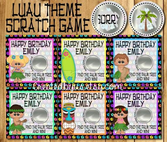Hawaiian Luau Birthday Game Happy Birthday Scratch Off Cards
