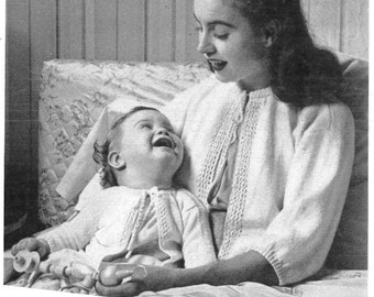 1940's Vintage Knitting Pattern Baby Infant and Woman's Sweater Bed Jacket Sacque Instant Download PDF Needlework WWII Era