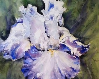"Floral, flowers, macro, Iris, purple, lavender, blue. Dad's Iris, Center Ice. Original Watercolor Painting 22"" x 22""."