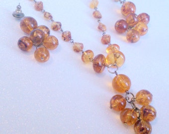 Vintage Amber Lucite Beaded Necklace and Earrings Demi Parure