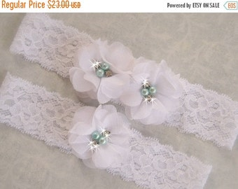 SUMMER SALE Wedding Garter, White and Tiffany Garter Set with Toss Garter, Tiffany Blue Pearls, Bridal Garter