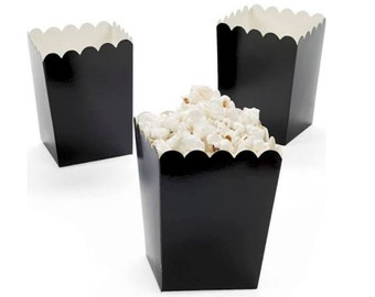 BLACK Popcorn Boxes 12 ct. Treat Boxes / Favor Boxes / Candy Boxes /  Popcorn Boxes / Wedding Favors / Birthday Favors