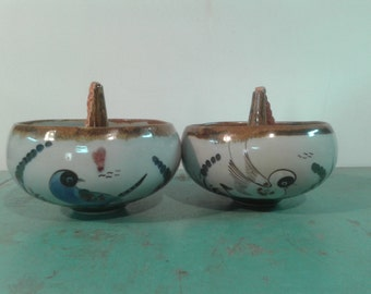 Vintage  pair hanging ceramic planters,70s  planters,made in Mexico, hanging air plant holder