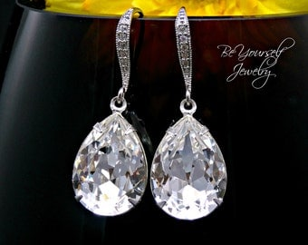 White Crystal Bridal Earrings Teardrop Bride Earrings Swarovski Crystal Wedding Earrings Bridesmaid Gift Zirconia Sterling Wedding Jewelry
