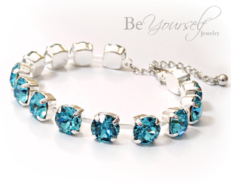 Teal Blue Bridal Bracelet Sea Green Bride Bracelet Swarovski Crystal Light Turquoise Wedding Bracelet Bridesmaid Gift Something Blue Jewelry