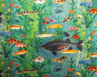 Tropical Fish Ocean Sea Life Cotton Fabric Fat Quarter or Custom Listing