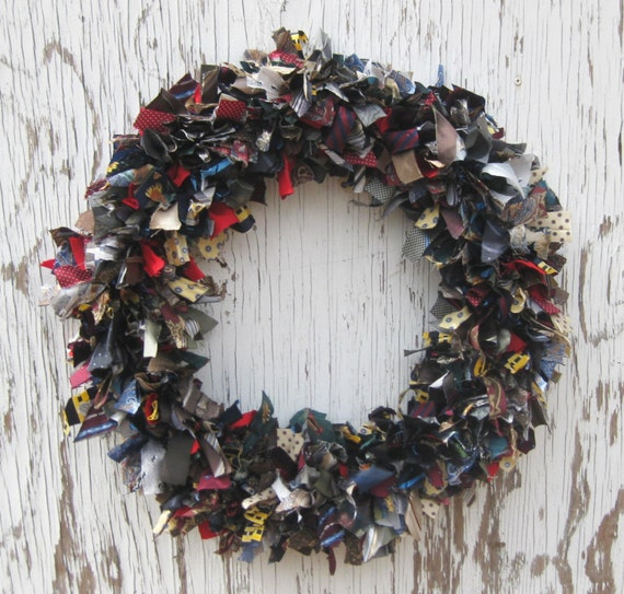 Recycled Vintage Silk Necktie Wreath - 20 inch