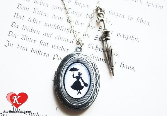 Mary Poppins Silhouette Locket - handmade nostalgic lovely  gift  fairy tale Childhood gift friend daughter sister twin necklace
