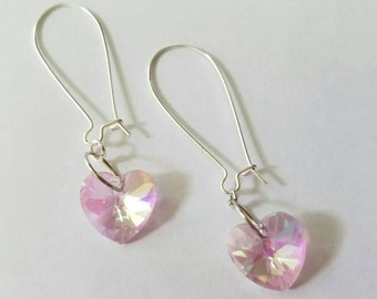 Pretty pink dainty sparkle heart drop earrings, dangles, iridescent