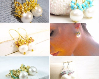 Pearl Cluster Earrings Handcrafted by Bare and Me on Etsy/ Bridal Pearl Earrings/ Cluster Pearl and Gemstone Earrings/ Statement Bridal Idea