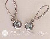 Aquamarine Dangle Earrings in Round Gold Filigree Lever Back Design March Birthstone Gemstone Jewelry