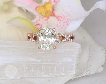 Rose Gold Vintage Engagement Ring With 3.65ct Mint Green Sapphire, Sapphire Wedding Ring