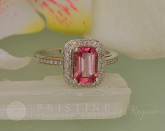 Emerald Cut Pink Sapphire Engagement Ring 1.94cts in Gold Diamond Halo Gemstone Engagement Ring Weddings