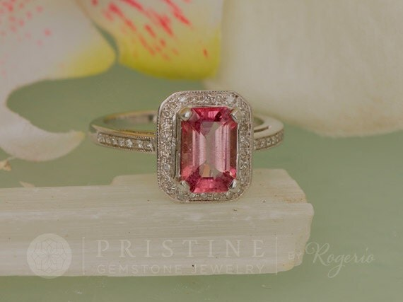 Emerald Cut Pink Sapphire Ring 1.94cts Sapphire in Gold Diamond Halo