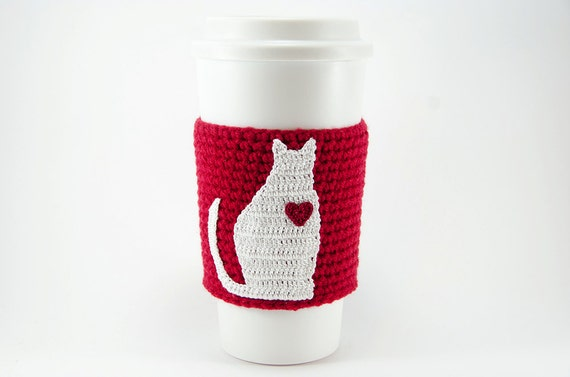Coffee cozy, cup sleeve, I love my cat, cat coffee cozy, red sleeve, red heart, Valentines day gift for her, valentine