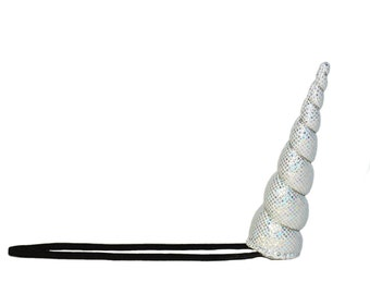 Silver Sparkle Unicorn Narhwal Horn Headband Costume Photo Prop Halloween SH6