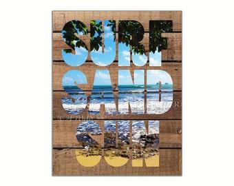 Surf Sand Sun Shiplap Wall Art Paper Print