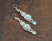 Mint Crystal Earrings - Beaded Dangle Earrings - Wedding, Bridal, Jeweled Earrings - Beadwork Jewelry