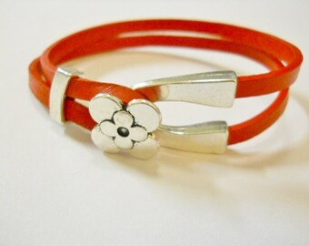 Leather, Red Leather, 2 double 5mm leather.  Flower clasp, Slider closure, feminine
