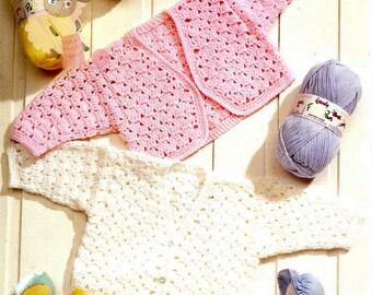 "Instant Download - PDF Crochet Pattern - Babies/Girls Pretty V Cardigans & Bolero - 12-22"""