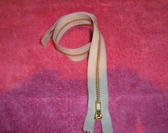 """2 Beige 16"""" YKK Brass Zippers"""