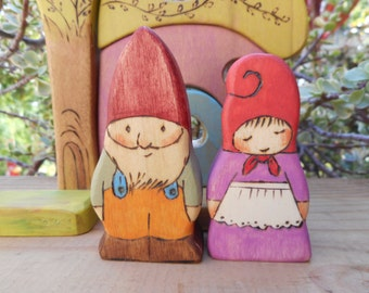 Wood Toys GNOME COUPLE-Waldorf Inspired-Imaginative-Pretend Play