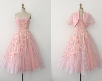 vintage 1950s dress // 50s pink lace evening prom dress with jacket